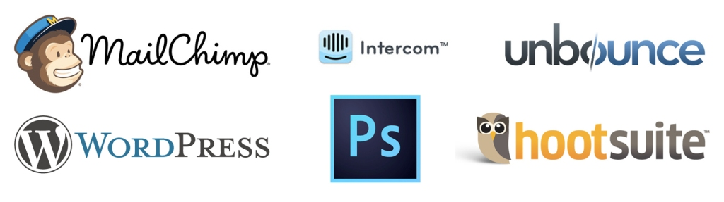 Mailchimp, Intercom, Unbounce, WordPress, Photoshop CC, Hootsuite, Software